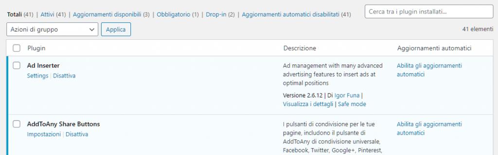aggiornamenti automatici plugin