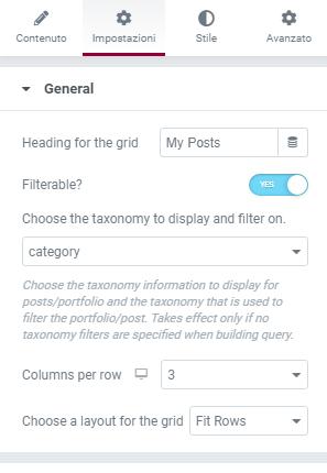 Come funziona post grid elementor